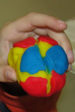 Play-doh model showing 4 lobes of the brain