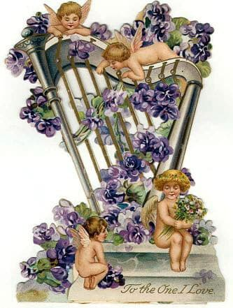 Free vintage Valentine's Day angels with harp and purple flowers