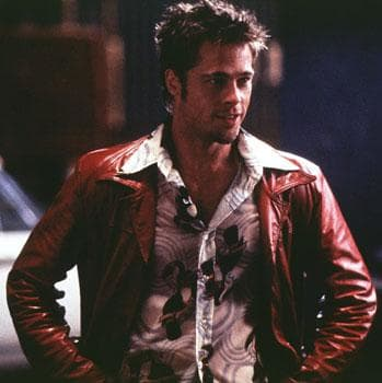 The standard red leather jacket with vintage shirt