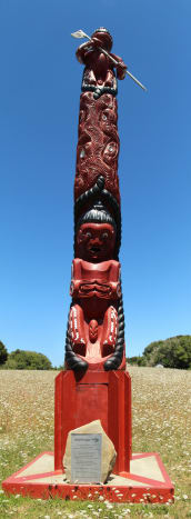 Maori carved poles appear in this photo set. This one is a Ruapekapeka monument in New Zealand.