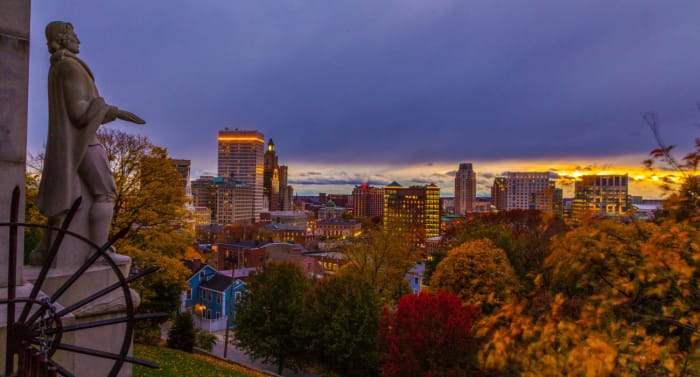 Skyline in Providence, Rhode Island Top Cities in America for Fall Traveling