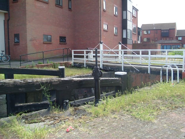 Old Lock from Marina to Canal, with swing footbridge