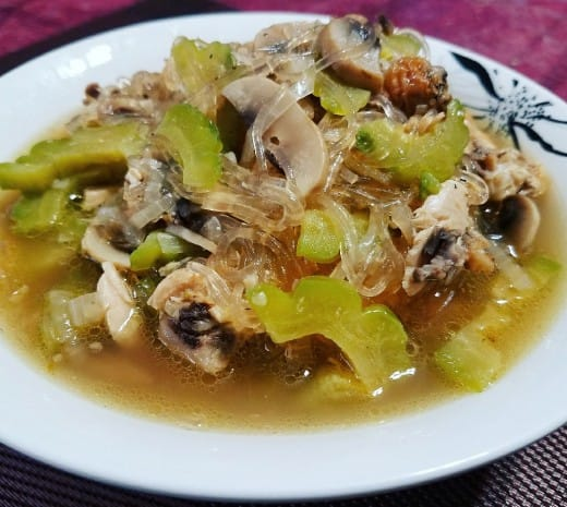 Bitter gourd fruit with glass noodles and chicken.