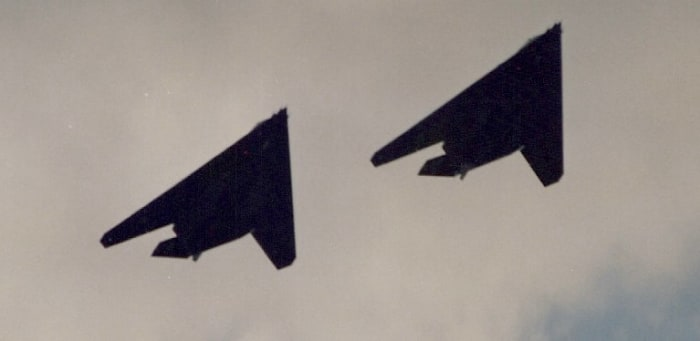 F-117A over the Washington DC Mall during the Desert Strom Victory Parade, 1991.