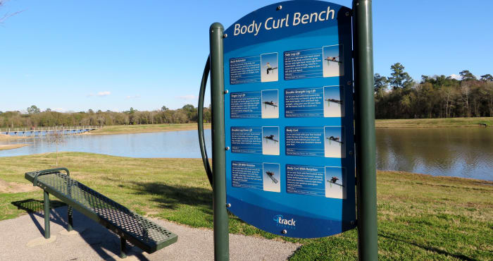 Exercise equipment placed all throughout Cypress Park