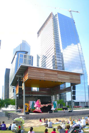 The Anheuser-Busch Stage at Discovery Green with a view of Hess Tower in Downtown Houston