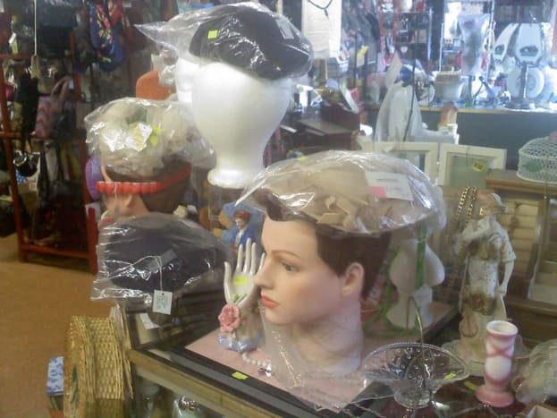 Some vintage hats on display at Hubbard, Ohio shop - many were never worn.