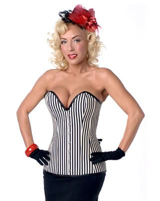 Vertical stripe slimming corset with pencil skirt.
