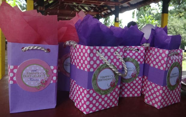 Sophie cleverly customized birthday treat bags with the cupcake toppers