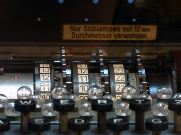 "Close-up of the keyboard of a WWII ""Enigma"" machine. Invented by the Germans, it was soon cracked by the Allies"