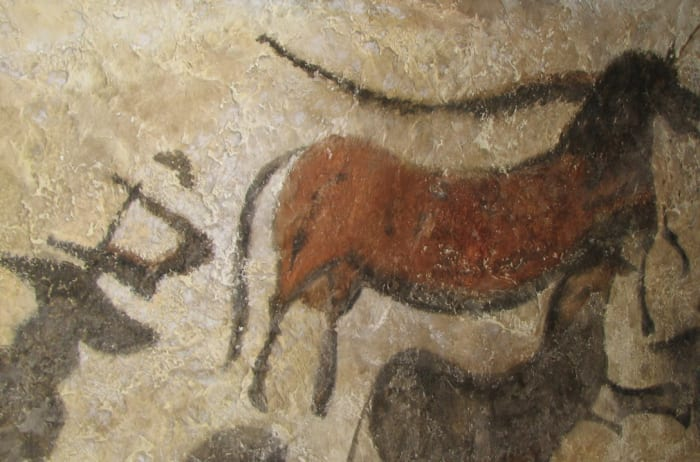 Cave painting from the Lascaux cave in The Anthropos Pavilion of The Moravian Museum, Brno, Czech Republic