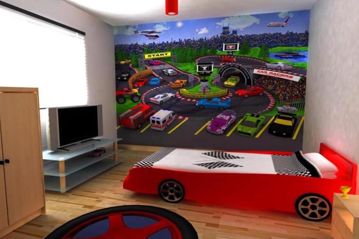 Just a race car bed & wall mural make this room feel totally themed out!