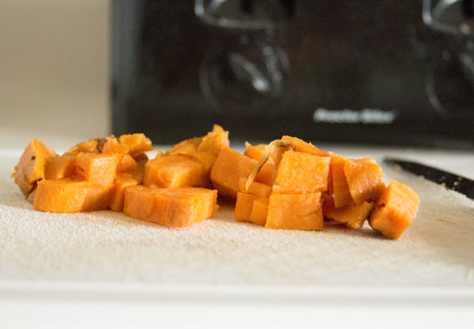 Baked, peeled, and diced sweet potato.