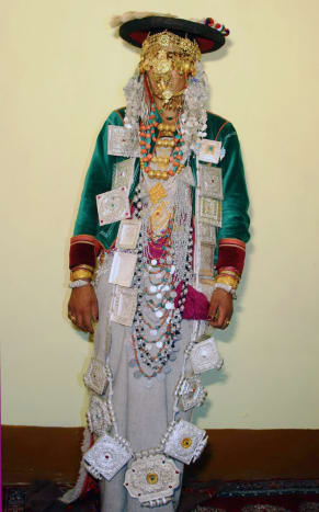 The Bride of Kinnaur in traditional Costumes wearing Silver Jewelry