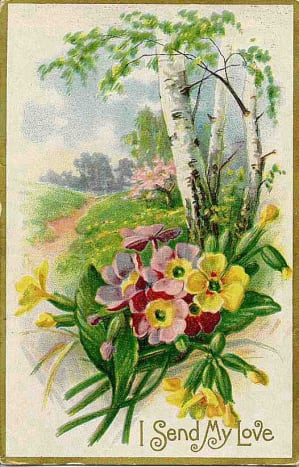 Double-click to see larger version I Country lane with flowers Victorian valentine card