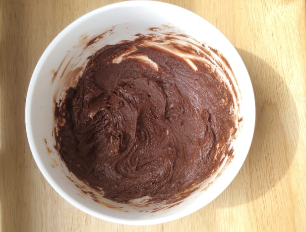 This is the mixture of nut butter, cocoa and agave nectar that I often use to make chocolate bark. The mixture is nice as a spread on bread or crackers or as a frosting on cakes.