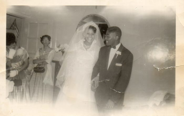 This black and white photo is our cousin Willie Platt married Rose, July 16, 1956. He was 20 years old and she was 17.