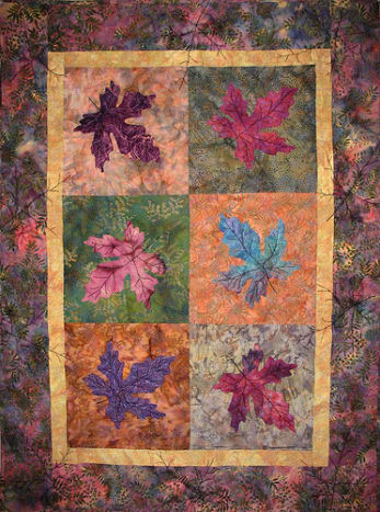 Batik art quilt called Turning over a new leaf