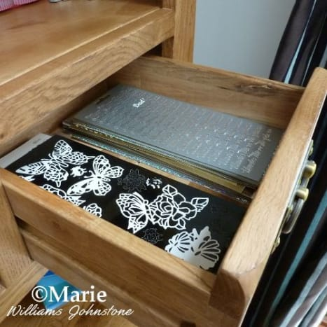 One of the smallest drawers in my craft hutch holds all my peel-off sticker sheets - there are hundreds!