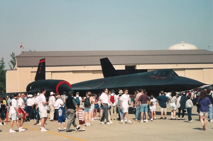 An SR-71 on display at an Andrews AFB.