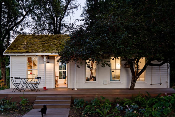 Built in the 1940s, this house was redesigned using reclaimed materials.