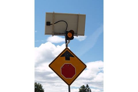 Solar panel operated traffic sign