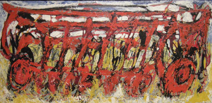 In this colorful, abstracted painting,farm equipment sits in the farmer's field, ready to do the work of tilling the ground to plant crops.