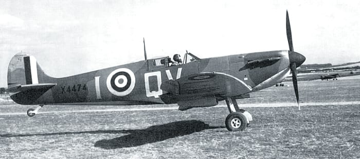 """A Spitfire Mk. I--The """"thoroughbred"""" of the RAF during the battle."""