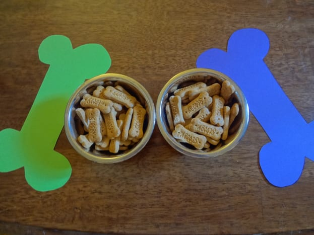 Scooby snacks in doggie bowls