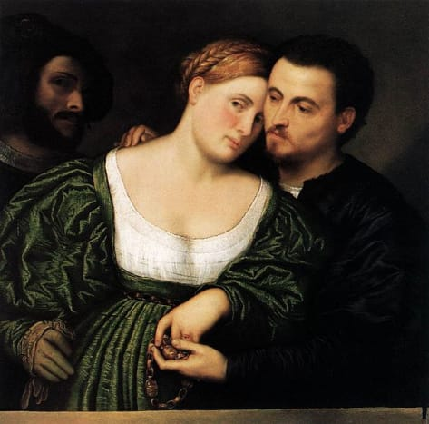 Venetian Lovers - Paris Bordone- between 1525 and 1530