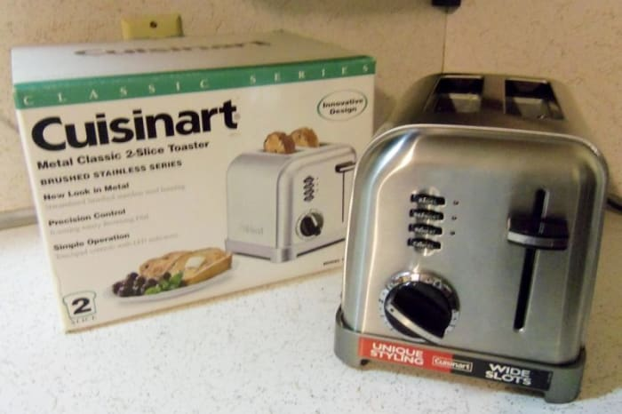This is my Cuisinart 2 slice toaster.  It fits nicely on the countertop.  It still looks brand new.