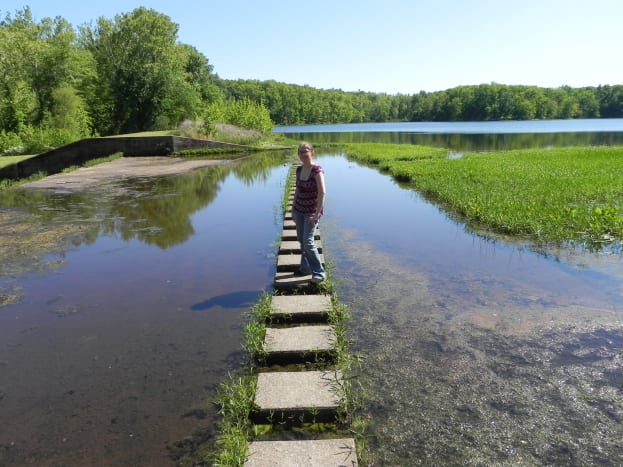 This me on the stepping stones that stretch out across the lake.