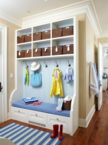 In less than 2 ft. deep 6 ft. wide you can create this unit.  Includes bench, drop down cupboard, coat hooks & baskets.