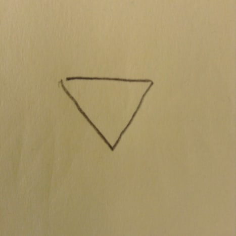 Draw an upside down triangle for his head.