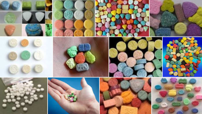 The many types of colours and sizes of ecstasy.