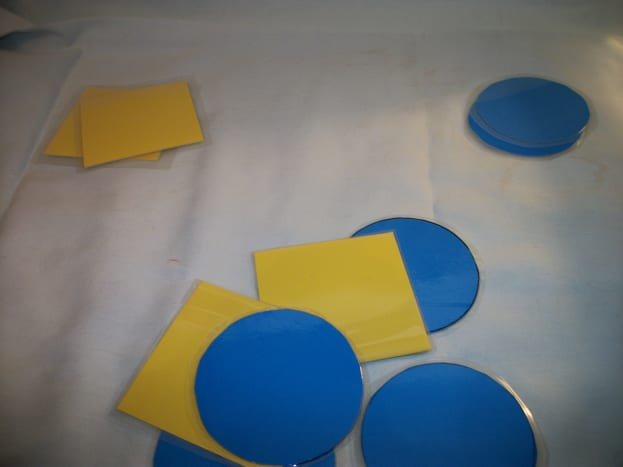 Start with two shapes.  Use colors to help the child get started if they know colors.