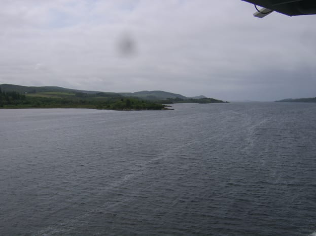 View down the West Loch as the Islay ferry departs Kennacraig