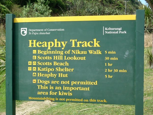The start of the Heaphy Track