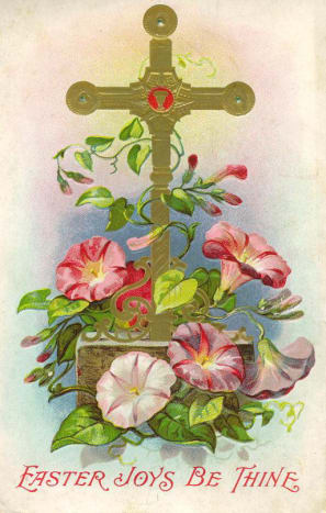 Ornate gold cross with morning glories free vintage religious Easter card