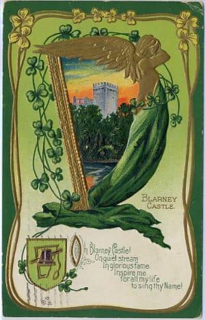 Blarney Castle, Ireland vintage postcard with shamrocks