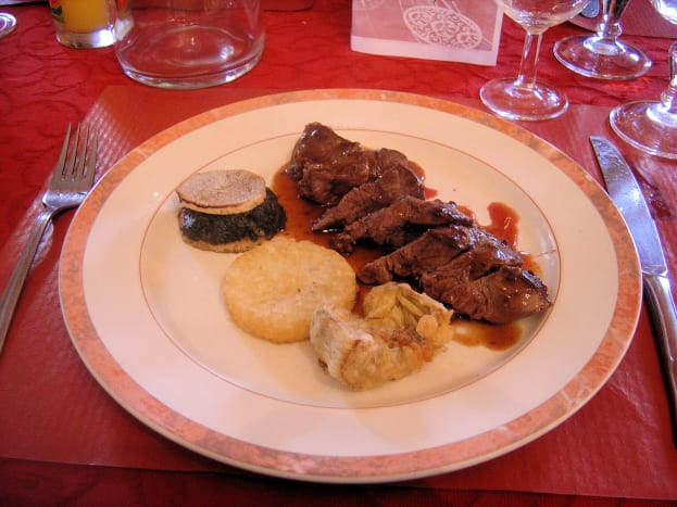 This was a slightly more expensive menu, the Ouvrier menu would be a bit simpler but it was still excellent value - real Limousin beef