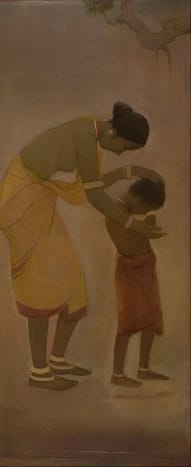 Jamini Roy – Mother and Child, oil on canvas, mid 1920. National Gallery of Modern Art collection