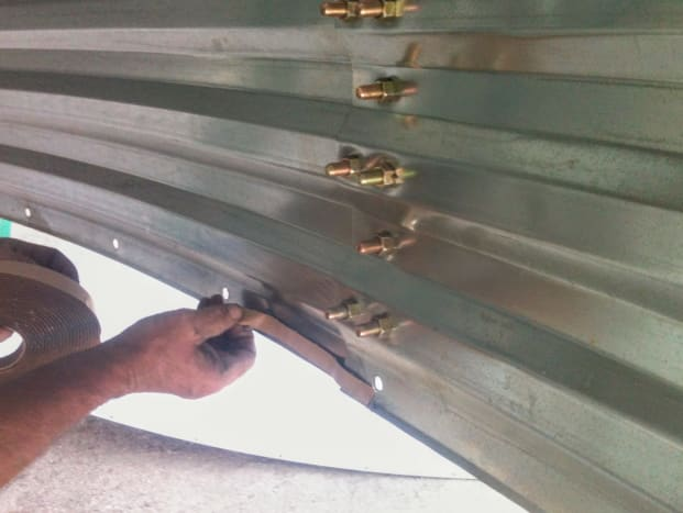 Use sealant on the horizontal seams wherever two thicknesses of sheets meet.