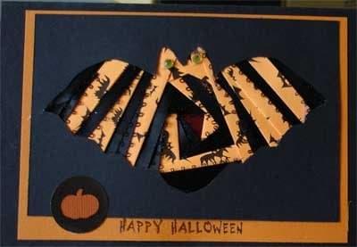 Halloween card with iris folded bat