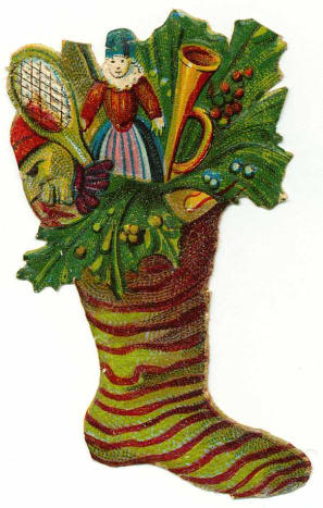 Vintage Christmas stocking filled with toys