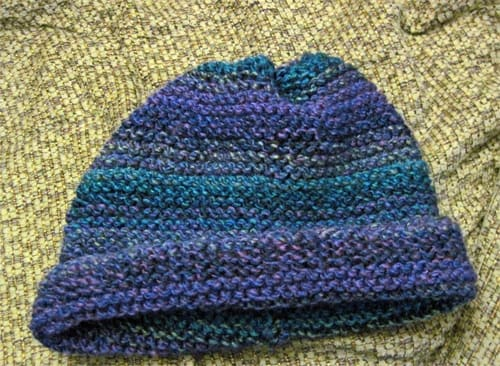 I used Lion Brand Yarn Tweed Stripes in Caribbean for this cool hat.