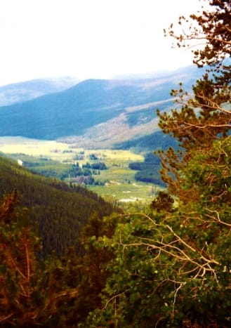 Heading down the Rocky Mountains towards Grand Lake.