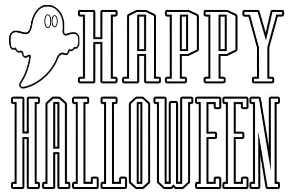 Happy Halloween Small Coloring Page