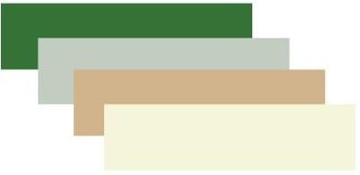 Medium forest green, honeydew, tan and beige