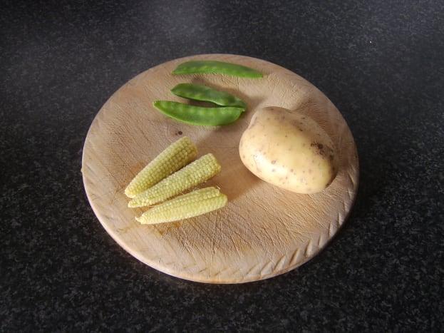 Potato, babycorn ears and mangetout